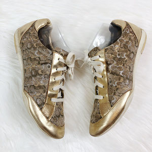 [COACH] Reese Lace Up Tennis Shoes Metallic Gold